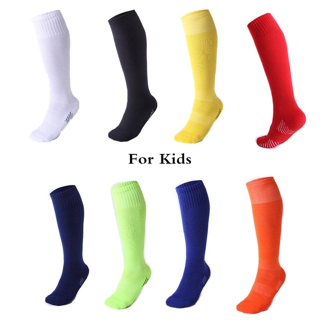 Children Professional Sports Soccer Socks Pure Color Knee-High Boy girls Deodorization Towel football compression Sock for kids