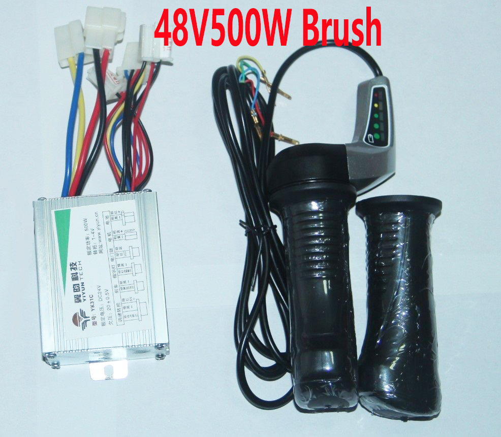 YK31C Brush Electric Scooter Controller 48V500W With 48V Twist Throttle Set LED Battery Display Kit
