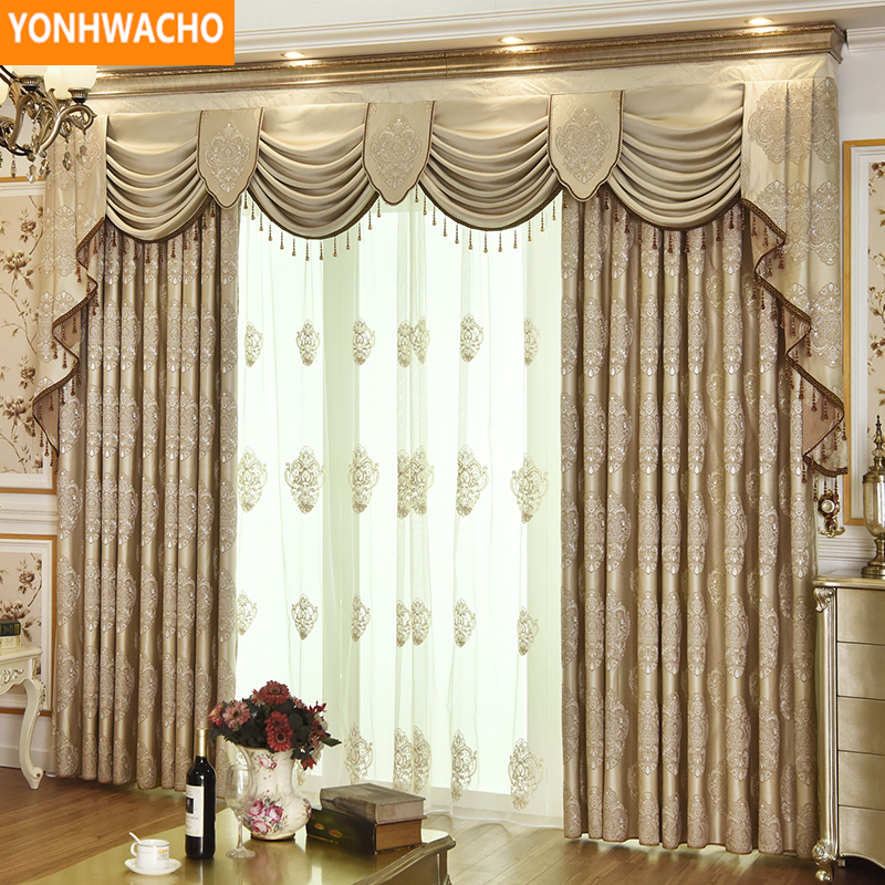 Blackout Curtains For Living Room Hotel European Simple: Custom Curtains Luxury Living Room Embroidered Simple