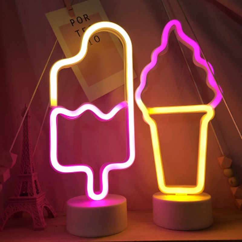 NEW LED Neon Light Neon Sign Ice Cream Night Lights Table Lamp Pastry Display Holiday Creative Shop Home Girl Bedroom Decoration