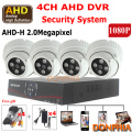 Full HD 1080P CCTV Camera system 4ch 2.0MP AHD DVR and 4pcs Array Indoor IR Day night Surveillance AHD Camera Security AHD Set