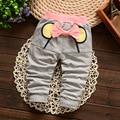 Nueva mariposa de la llegada pantalones de primavera ropa bebé niños vaqueros chicas harem 100% pantalones de algodón para los niños envío gratis