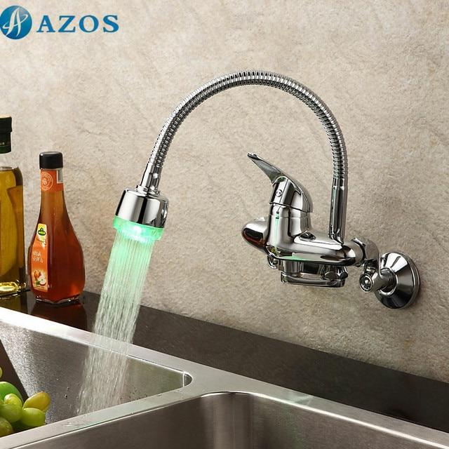 Kitchen Basin Taps Modern LED Light Swivel Waterfall Shower Hose ...