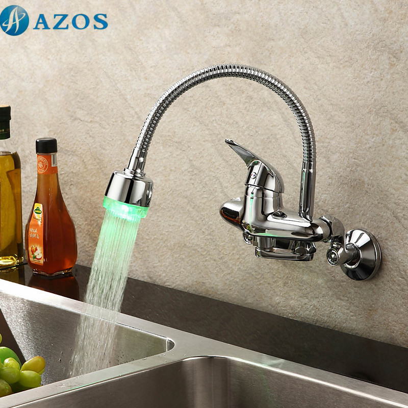 Kitchen Basin Taps Modern LED Light Swivel Waterfall Shower Hose Spout Single Handle Chrome Polished Wall Mounted Mixers CFLT606