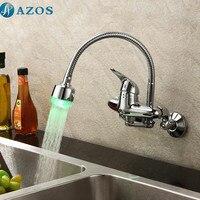 Kitchen Basin Taps Modern LED Light Swivel Waterfall Shower Hose Spout Single Handle Chrome Polished Wall Mounted Mixers CFLT606