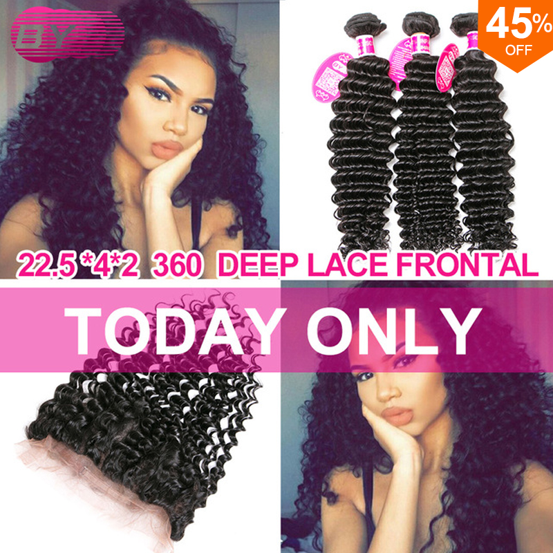 Cheap 360 Lace Frontal With Bundle Human Hair Deep Wave Brazilian Hair 4 Bundles Grade 7a Unprocessed Virgin Hair Wet And Wavy