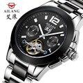 True luxury brand men's steel independent wind waterproof automatic mechanical men black dial ceramic watch fashion tourbillon
