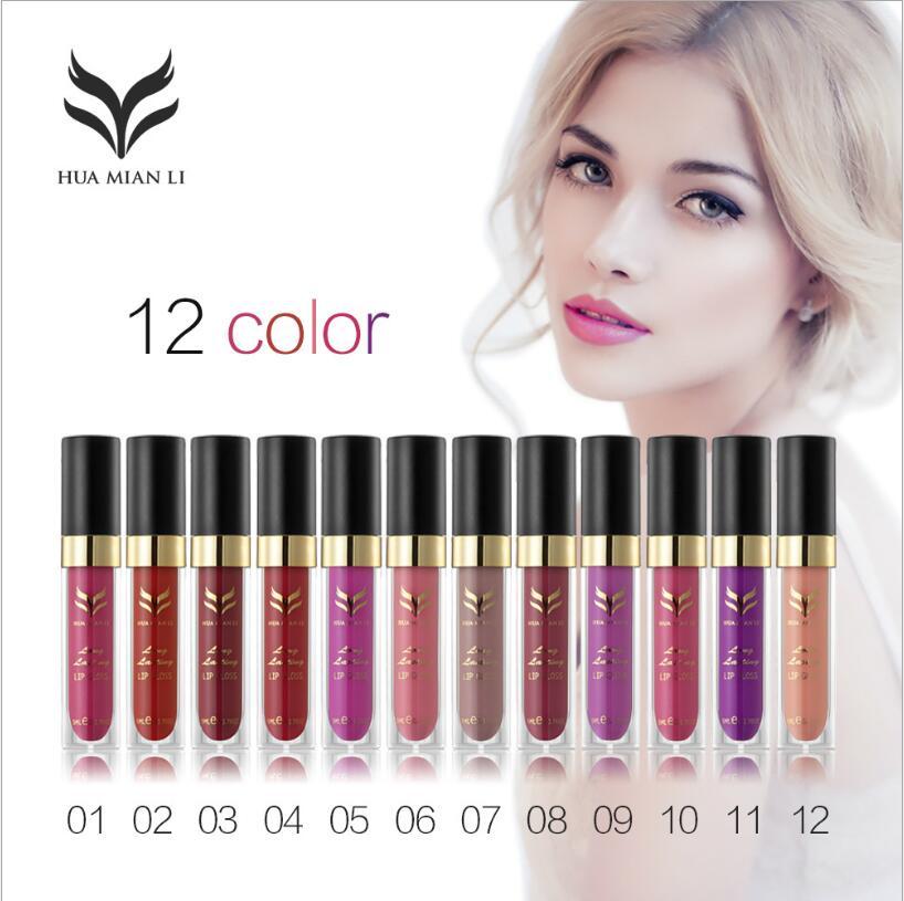 Brand Lip Gloss Makeup Gloss Liquid Lipstick Lot Long Lasting Lipgloss Moisturizing Beauty Batom 12 Colors High Quality hannaier 269 h01 pen style moisturizing lipstick lip gloss red