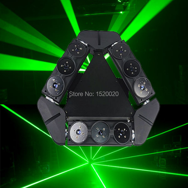 9 Moving Head laser Spider Light green Color 50mw*9 Triangle Spider Moving Head Light   Laser  Dj Light Disco Club event laser head ic vcd raf0152 rae0152 e15