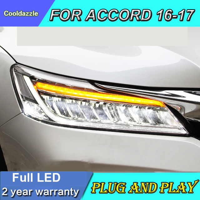 Car Styling Case For Honda Accord Led Headlights Full 2016 2017 Year