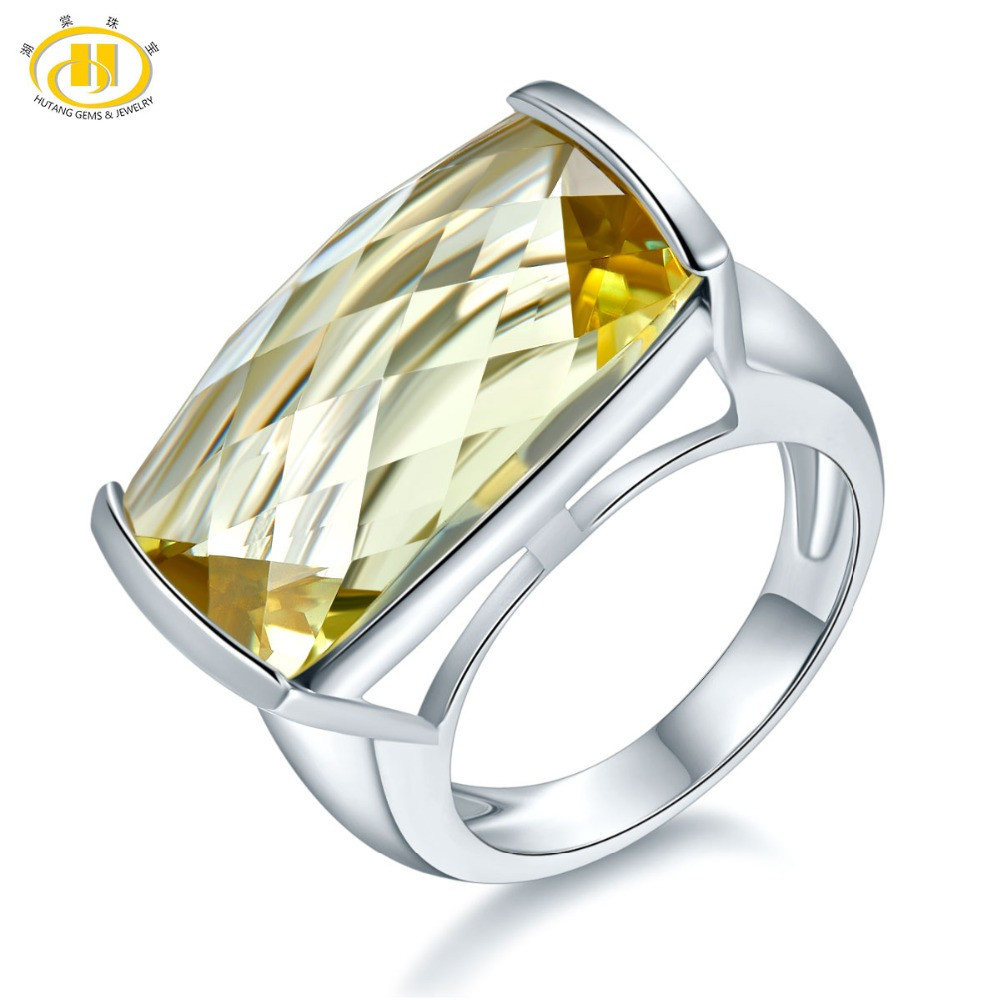 Hutang Natural 15ct Huge Lemon Quartz Rings 925 Sterling Silver Ring Gemstone Engagement Fine Stone Jewelry