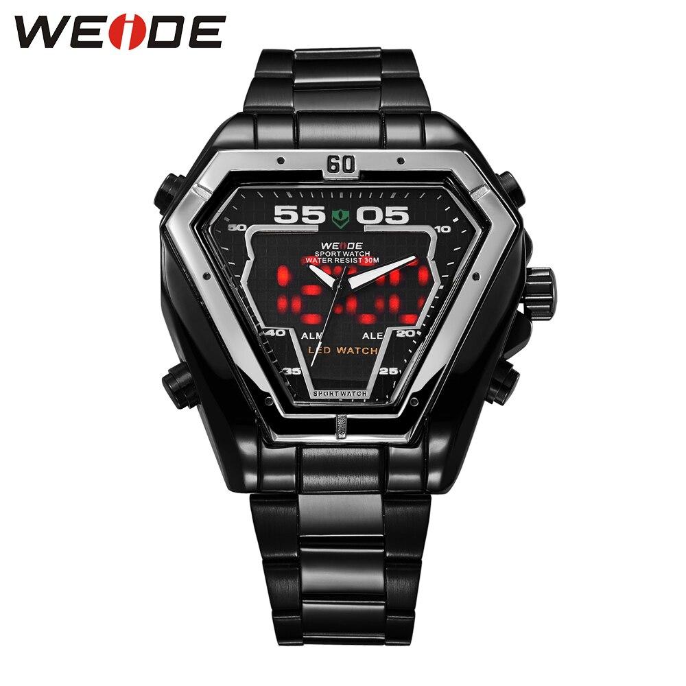 WEIDE Top marque hommes Sport analogique numérique LED double affichage 30 m étanche pleine noir montres Relogio Masculino cadeau pour hommes