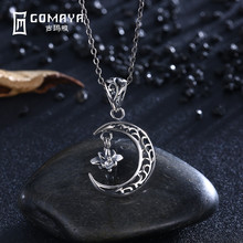 hot deal buy gomaya vintage retro genuine 925 sterling silver hollow moon with star pendant necklace antique fine jewelry gift for women punk