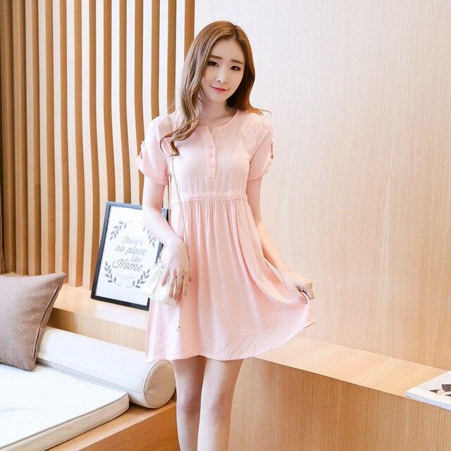 b7c97b21126b5 2017 النساء الحوامل جديدة الكورية الحلو الصيف اللباس الصلبة فساتين الأمومة  النساء أزياء القطن بأكمام قصيرة
