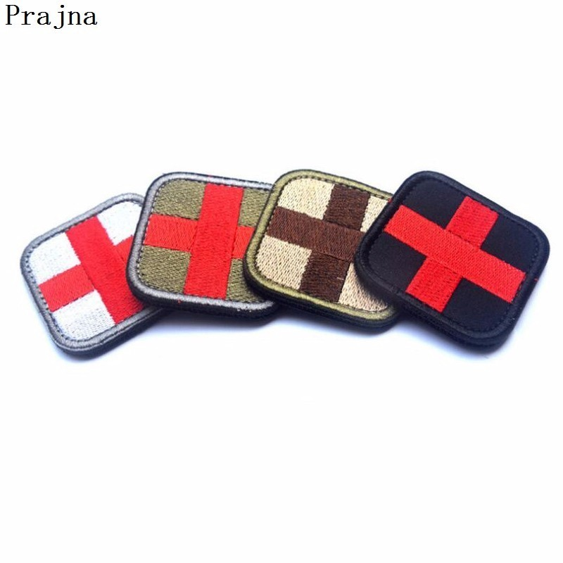 Inventive Prajna Tactical Red Cross Patch Crusader Embroidered Patches For Clothes Stripe Glueless Hook Loop Medic Military Morale Patches Rock & Pop