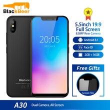 Мобильный телефон Blackview A 30 A30, экран 5,5 дюйма, четырёхъядерный процессор MTK6580A, 2 ГБ 16 ГБ, Android 8,1, две sim карты, 3g, распознавание лица, сотовый телефон 2500mA