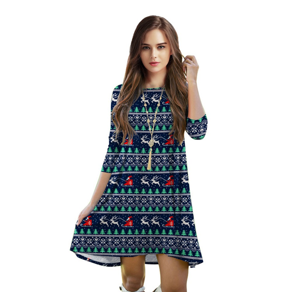 Christmas dress casual - New Fashion Women Female Autumn Dress Christmas Santa Ride Sleigh 3d Print Three Quarter Sleeve Loose