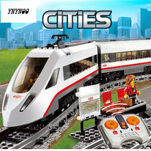 YNYNOO 610Pcs Lepin 02010 The High-speed Passenger Train Remote-control Trucks Set Building Blocks Bricks Toy Compatible 60051