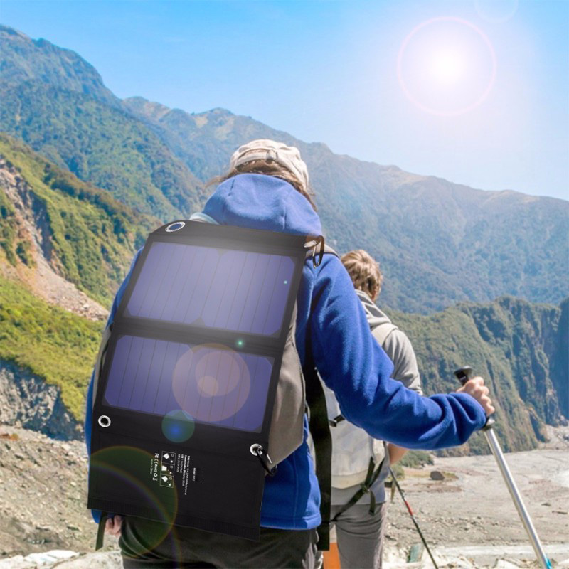 22% 5V 14W Solar Panel Charger Dual USB Ports Foldable Solar Chargers Solar Battery Charger Bag for iPhone iPad