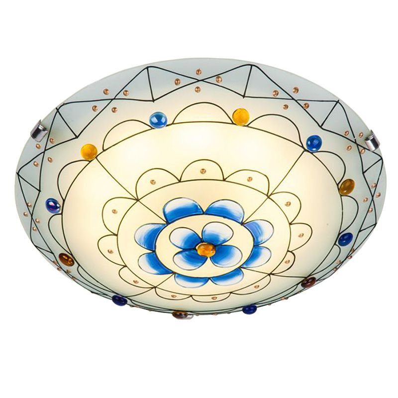 Pastoral Stained Glass Bedroom Ceiling Lamp Mediterranean Kid's Room Ceiling Lamps Baby Room Ceiling Light