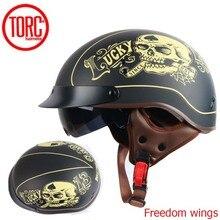 TORC T55 vintage jet motorcycle Harley helmetretro scooter half helmet with Builtin visor lens moto casco