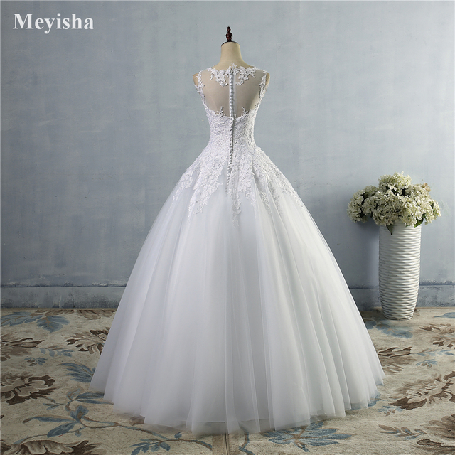 ZJ9036 2019 2020 lace White Ivory A-Line Wedding Dresses for bride Dress gown Vintage plus size Customer made size 2-28W 4