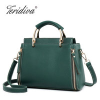 2018 New Fashion Auterm Handbag High Quality Designer Women Leather Handbag Tote Bag Female Shoulder Bags Green Cross Body Purse