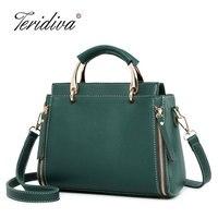 2018 New Fashion Auterm Handbag High Quality Designer Women Leather Handbag Tote Bag Female Shoulder Bags Green Cross Body Purse