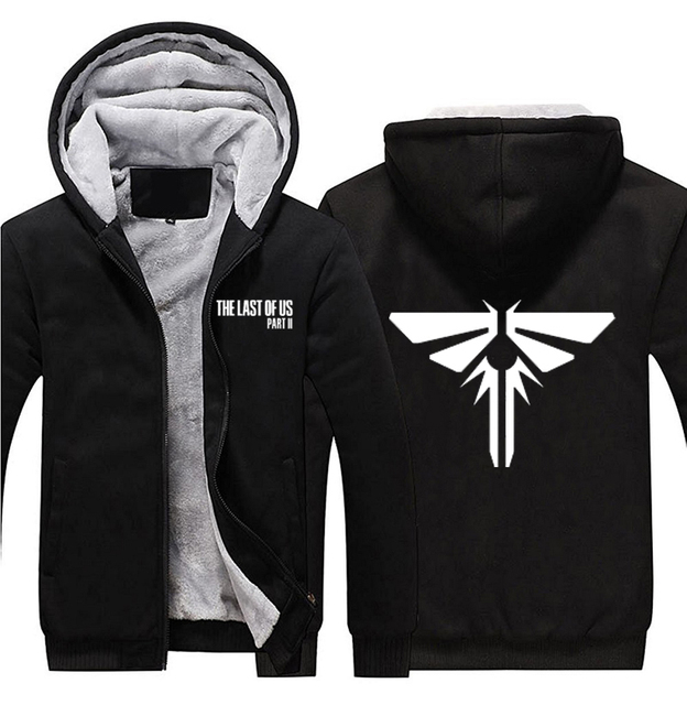 ae6f187d48bc 2018 Game The Last of Us Part II 2 Firefly Logo Hoodies Zip Up Black Hooded  Winter Super Warm Fleece Sweatshirts Coats Outwear