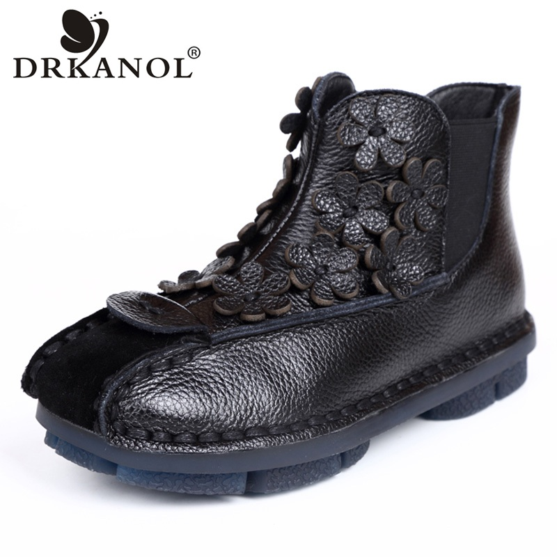 DRKANOL New Design Retro Short Women Boots Handmade Genuine Leather Flat Ankle Boots For Women Autumn Winter Casual Shoes H9011 [krusdan]british style men autumn winter boots solid casual genuine leather retro boots falts brand red wine male ankle boot