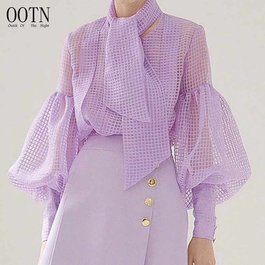 OOTN Puff Long Sleeve Purple Perspective Plaid Blouse Women O Neck Sashes Tunic Shirt Ladies Chemise See Through Elegant Top