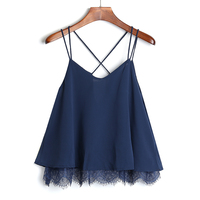 New Summer Cropped Lace Top Women Sexy Spaghetti Strap Boho Crop Top Beach Party Bandage Bustier