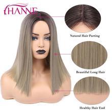 Hanne ombre peruca de linho, castanho/loiro/rosa/marrom, sintética, em linha do ombro, natural liso perucas de fibra de temperatura