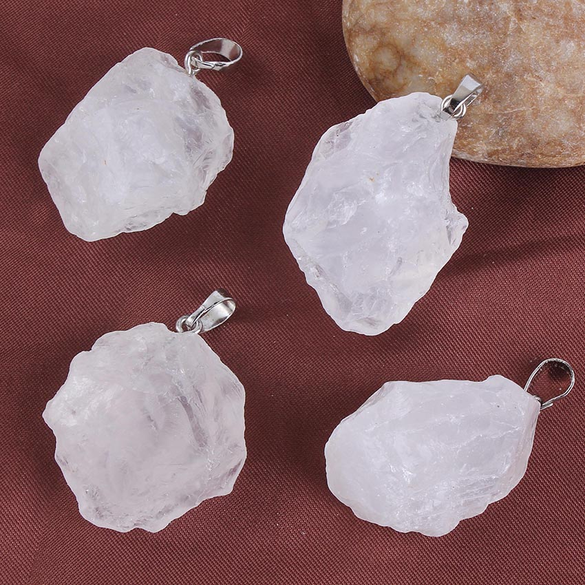 Kraft beads Popular Silver Plated Irregular Shape Connector Natural Rock Crystal Pendant Fashion Jewelry in Pendants from Jewelry Accessories
