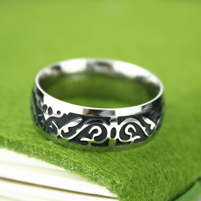 Titanium Ring with Wild Tribe Carvings