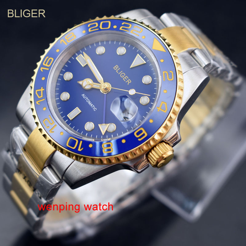 1 Stücke Bliger 40mm Blau Dial Gmt Keramik Lünette Gold Seite Schalen Stahl-gold Strap Automatischen Männer Uhr E2425