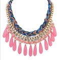 Fashion Maxi Bohemian Necklace for Women Drop Resin Beads Tassels Gold  Multilayer Colorful  Collar  Choker Necklace