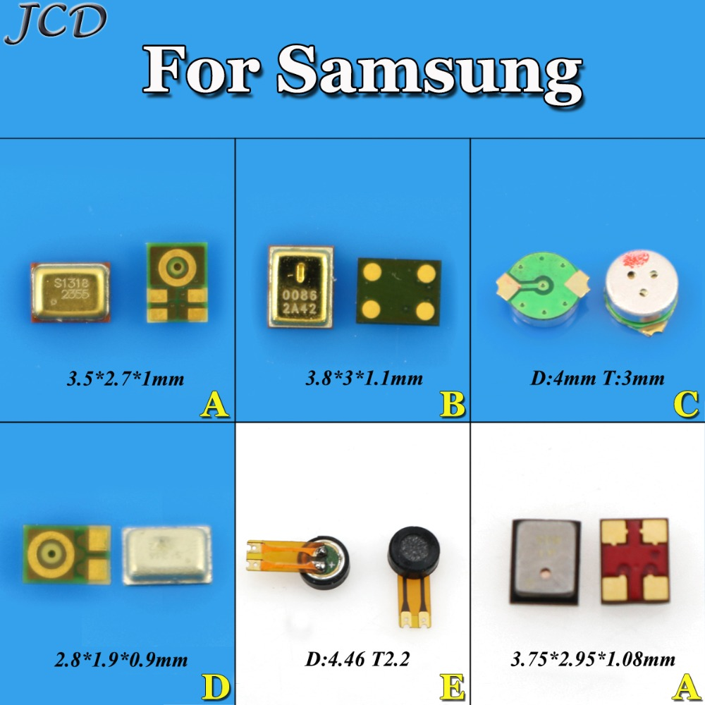JCD Microphone Inner MIC For Samsung Galaxy S3 I9300 Note2 S4 S6 S8+ A3 A7 A8 A9 Pro J1 J2 J7 J3 J320  Replacement Repair Parts