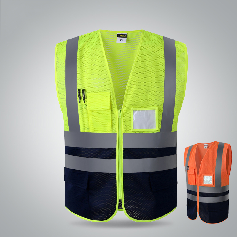 цена на High visibility two tone mesh safety vest reflective with pockets and zipper for construnction engineer