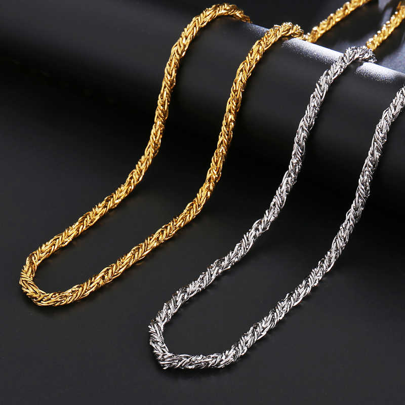 HIP Hop Width 4.5mm Stainless Steel Gold Rope Chain Necklace 316L Stainless Steel Twisted Necklace For Men Jewelry Dropshipping