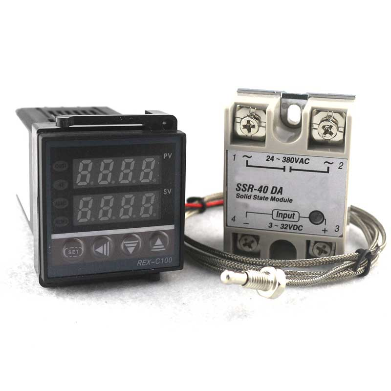 Dual PID Thermostat Regulator SSR Output Digital PID Temperature Controller REX-C100 0-400C with Thermocouple K SSR 40A SSR-40A  rex c100 digital pid temperature control controller thermostat thermometer relay output