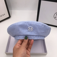Spring summer beret female blue stripe is concise pure cotton cap temperament is small pure and fresh melting lovely han version