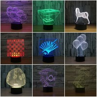Chess scorpion mahjong 3D Lamp LED Night Light light Acrylic lamp Atmosphere table decoration Lamp Novelty indoor Lighting