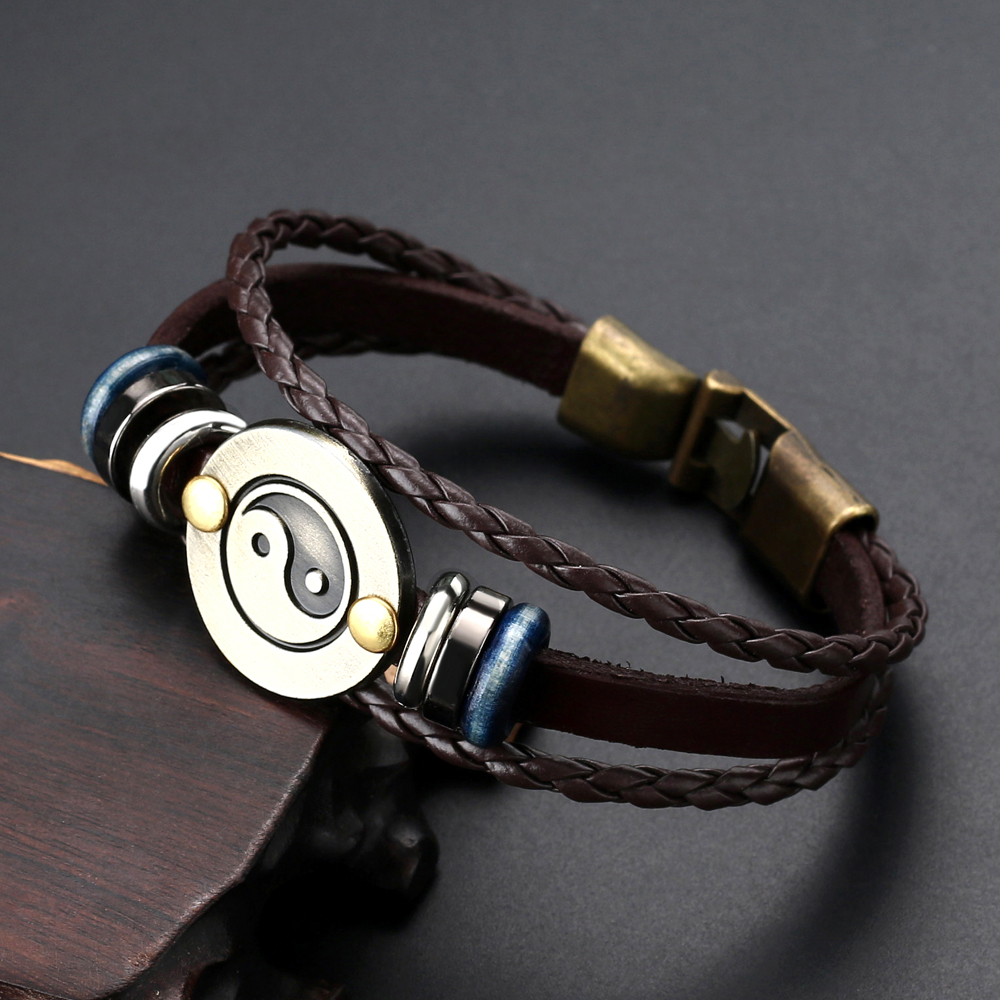 2019 Punk Hand Made Braided Charm Bracelet Bangles Retro Copper Tai Chi Ying Yang Wristband Cuff Leather Bracelet for Men Women in Charm Bracelets from Jewelry Accessories