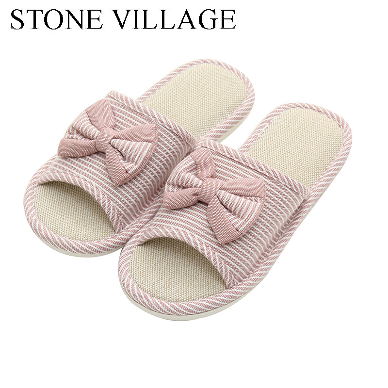 STONE VILLAGE 2019 Newest Cute Bow Natural Flax Home Slippers Indoor Floor Shoe Lovers Men Women Slippers Shoes Large Size 36-45STONE VILLAGE 2019 Newest Cute Bow Natural Flax Home Slippers Indoor Floor Shoe Lovers Men Women Slippers Shoes Large Size 36-45