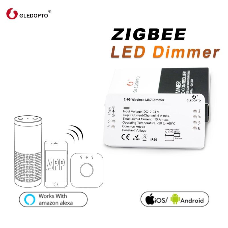 ZIGBEE GLEDOPTO samrt Controlador Led dimmer Controlador tira DC12/24 V zll padrão aplicativo levou o trabalho de controle de Voz com eco plus
