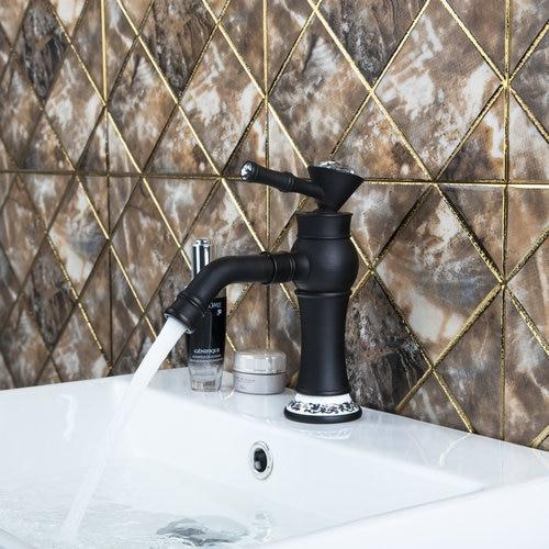 Short Oil Rubbed Black Bronze Diamond Single Handle Kitchen Torneira Swivel 97103 Basin Vessel Sink Lavatory