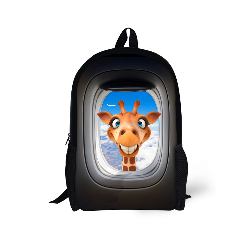 Cute Children School Bag for Teenager Girls Giraffe Crazy Horse Print Kids Schoolbags 3D Animal Book Bag Women Casual Mochila
