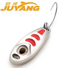 JUYANG Brand Small Pea Metal Spinner Spoon Fishing Lure Hard Baits Sequins with Treble Hook Tackle