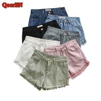 QoerliN 7 Candy Colors Vintage High Waist Zipper Ripped Jeans Shorts Pocket Button Cotton Sexy Summer